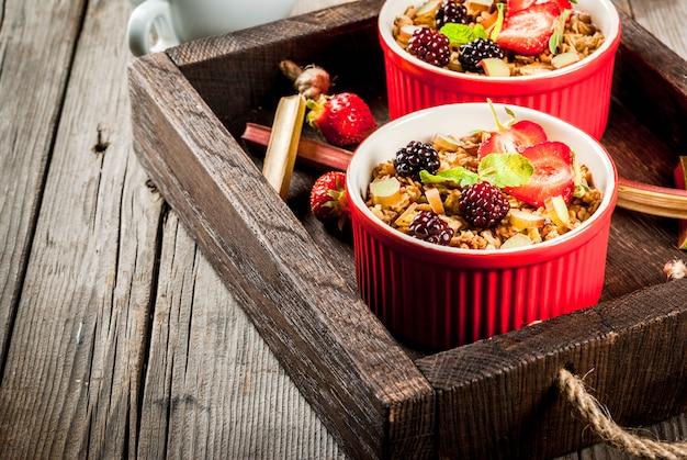 Desayuno saludable. crumble de avena y granola con ruibarbo, fresas y moras frescas, semillas y helado en tazones horneados, decorados con menta, sobre una mesa rústica de madera en una bandeja vieja