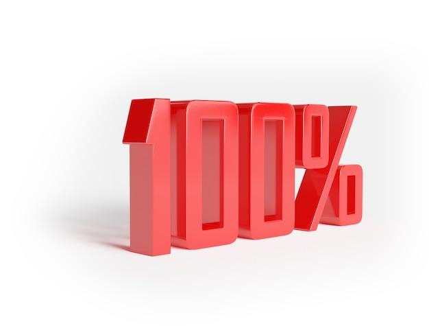 Descuento del 100% en venta. ciento cinco por ciento rojo aislado sobre superficie blanca. representación 3d. ilustración para publicidad.