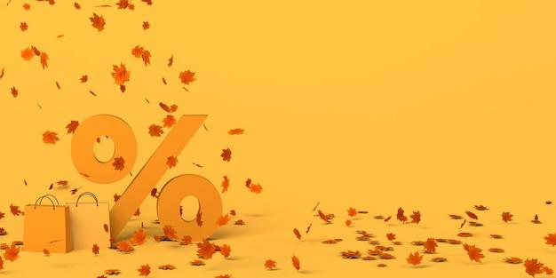 Descuentos de la temporada de otoño. ilustración 3d. copie el espacio.
