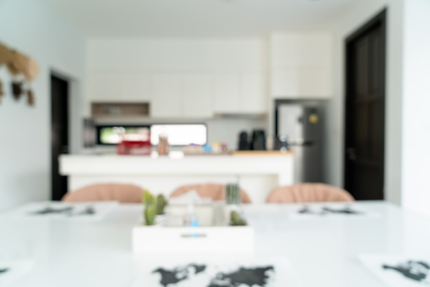 Desenfoque abstracto y cocina desenfocada para el fondo