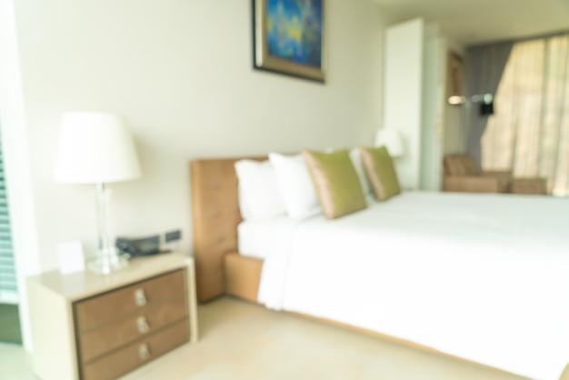 Desenfoque abstracto y decoración de dormitorio interior desenfocado
