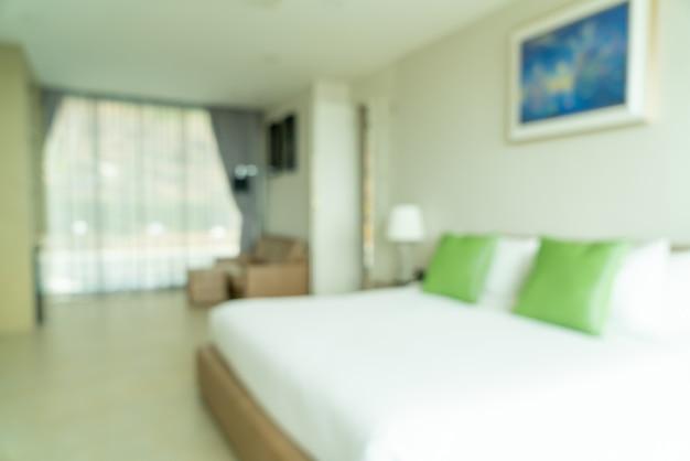 Desenfoque abstracto y decoración interior del dormitorio desenfocado