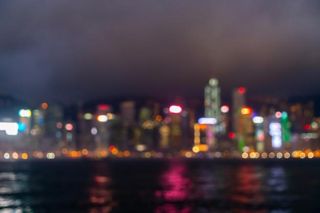 Desenfoque abstracto y desenfocado de la ciudad de hong kong