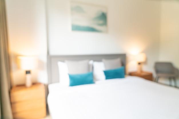Desenfoque abstracto y dormitorio de resort de hotel desenfocado para el fondo