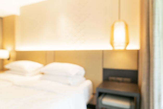 Desenfoque abstracto y dormitorio de resort de hotel desenfocado