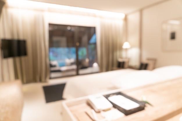 Desenfoque abstracto interior de dormitorio de hotel de lujo resort para superficie
