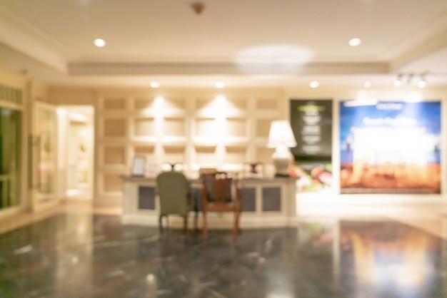 Desenfoque abstracto y vestíbulo del hotel de lujo desenfocado para el fondo