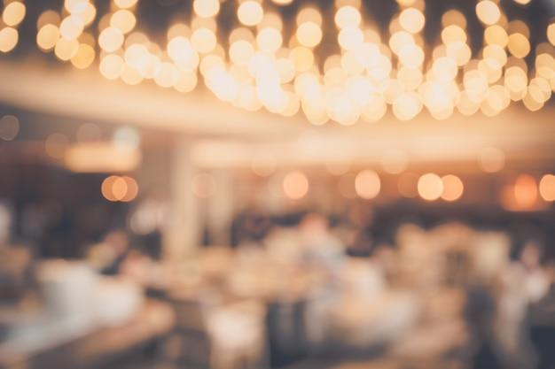 Desenfoque de fondo abstracto bokeh luz con restaurante o cafetería