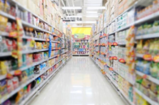 Desenfoque de fondo del supermercado en el centro comercial