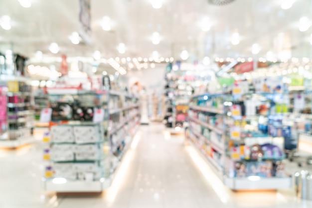 Desenfoque de pasillos en supermercado