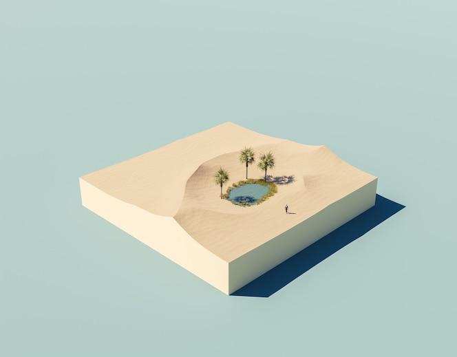 Desierto isométrico con un pequeño lago y una persona con traje perdido.