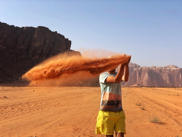 Desierto rojo salvaje wadi rum, jordania árabe.