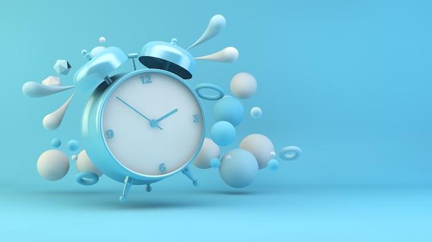 Despertador azul rodeado de formas geométricas render 3d