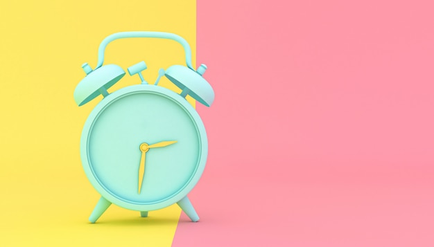 Despertador estilizado sobre fondo amarillo y rosa.