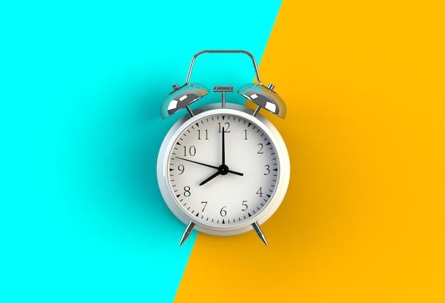 Despertador en el fondo azul y amarillo, representación 3d