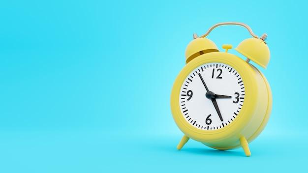 Despertador retro amarillo en representación 3d