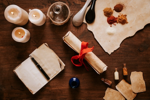 Desplazarse cerca de ingredientes y velas