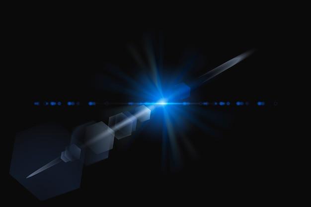 Destello de lente azul abstracto con elemento de diseño de fantasma hexagonal