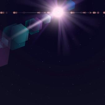 Destello de lente púrpura con efecto fantasma hexagonal sobre fondo oscuro