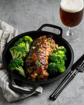 Detalle de primer plano de comida rica en proteínas