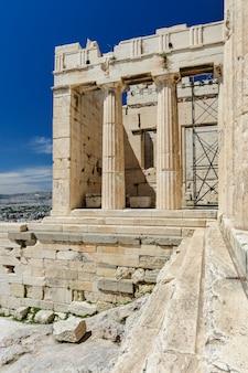 Detalles de entrada de la acrópolis, atenas, grecia