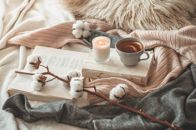 Detalles de naturaleza muerta en el interior de la casa de la sala de estar. suéteres y taza de té con un cono, nueces y decoración otoñal en los libros. leer, descansar. acogedor concepto de otoño o invierno.
