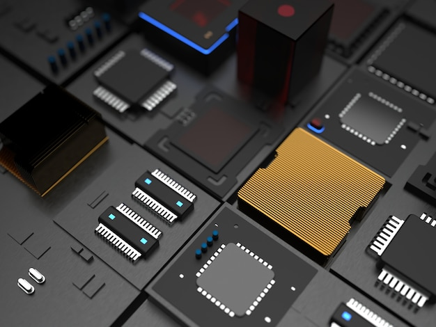 Detalles de las placas de circuitos de computadora de cerca
