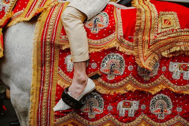 Detalles sorprendentes de la cubierta del caballo y la pierna del hombre.