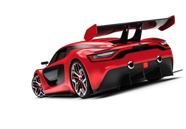 Detrás de un auto deportivo rojo personalizado