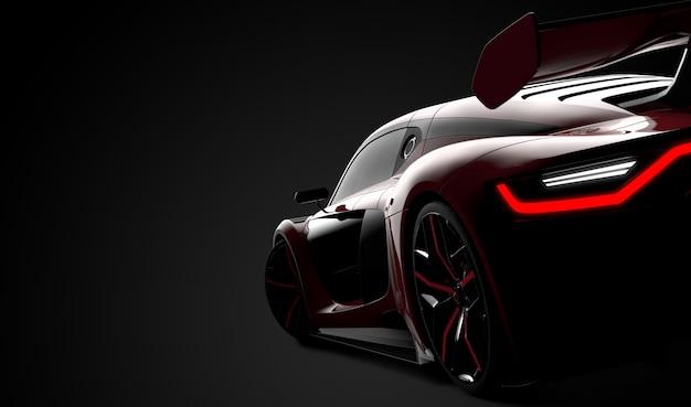 Detrás de un coche deportivo moderno rojo