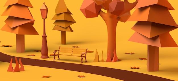Día de caminata de otoño en el parque árboles con hojas caídas cerca de un camino con bancos ilustración 3d
