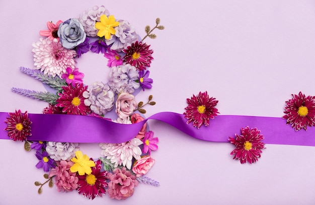 Día internacional de la mujer flores
