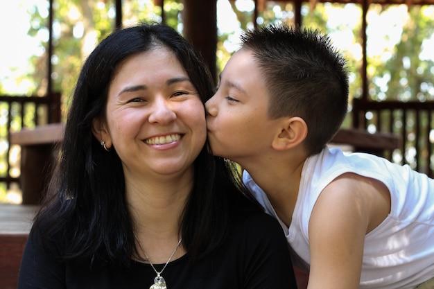 Día de la madre. lindo chico japonés y madre cara besos