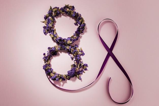 Día de la mujer floral octavo partido y cinta