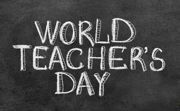 Día mundial del maestro en pizarra