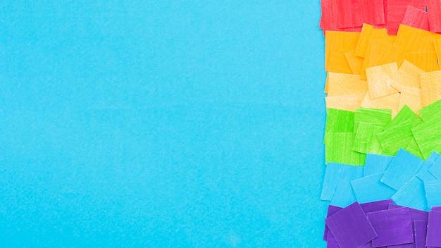 Día mundial del orgullo feliz y espacio de copia azul
