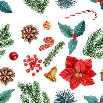 Día de navidad floral acuarela de patrones sin fisuras.