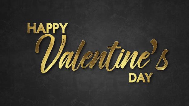 El día de san valentín feliz de las palabras, con color oro en fondo oscuro. concepto de dia de san valentin