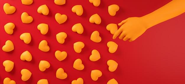 Día de san valentín mano recogiendo corazones patrón de fondo. color rojo negrita plano. tarjeta de felicitación de celebración de amor, póster, plantilla de banner para fiesta