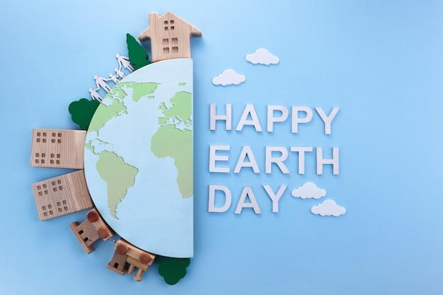 Día de la tierra en estilo moderno. protección del medio ambiente, ecología. mundo ecológico. simple y moderno.
