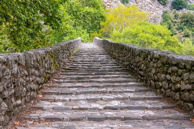 Día de verano en el parque viejo. pasos antiguos con barandilla de piedra