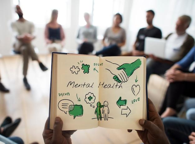 Diagrama de boceto de atención de salud mental