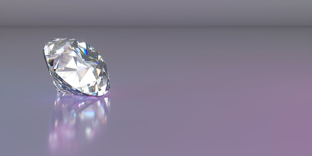 Un diamante en el lado izquierdo del marco sobre un fondo oscuro, ilustración 3d