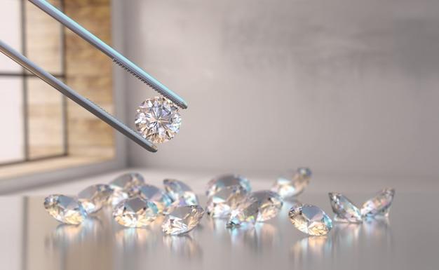 Diamante realista en pinzas de enfoque suave con un grupo de diamantes redondos en la habitación