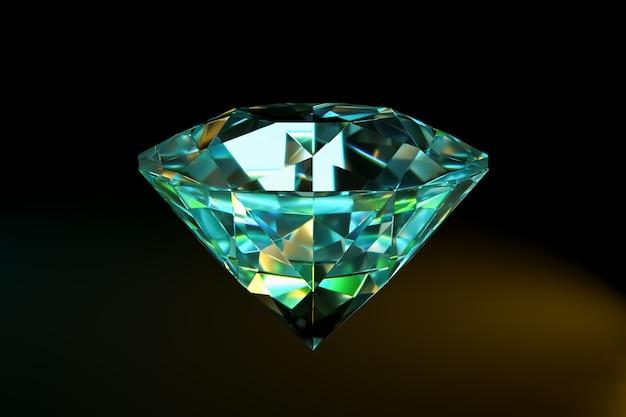 Diamante rendido sobre un fondo negro