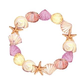 Dibujado a mano acuarela círculo seaframe con conchas, estrellas de mar y erizo de mar