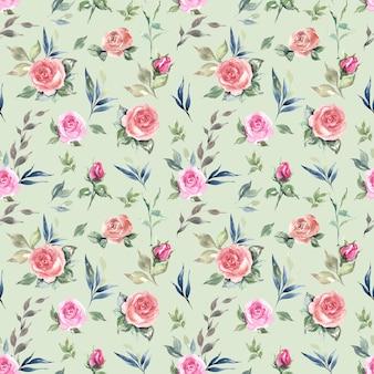 Dibujado a mano acuarela rosas y hojas de patrones sin fisuras