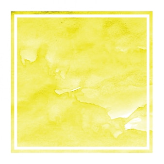 Dibujado a mano amarillo acuarela marco rectangular textura de fondo con manchas