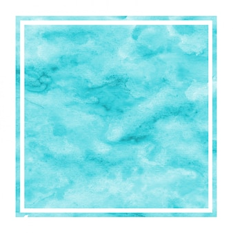 Dibujado a mano azul claro textura de marco rectangular de acuarela con manchas