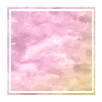 Dibujado a mano de color rosa y naranja textura de fondo de marco rectangular acuarela con manchas